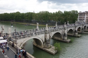 Bridge over the Tiber River (Fiume Tevere)