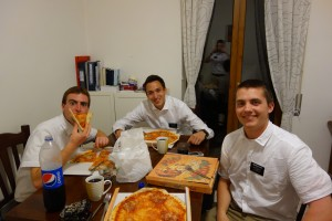 Pizza before scambi (exchanges) with the zone leaders