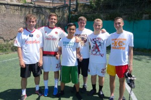 Our team for zone soccer.  Left to right:  Anzianos Garner, Kennedy, Castillo, Lercer, Martin, and Garrett
