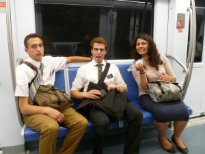 Looking tired on the metro, with Anziano Calvagna and Sorella Margheriti (from Sorella Battezzato's blog)