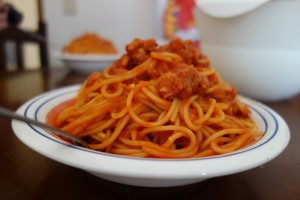Yummy plate of spaghetti
