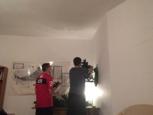 Putting the finishing touches on our tree