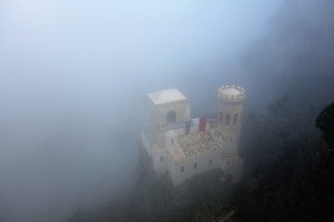 Fog-shrouded Erice, Sicily