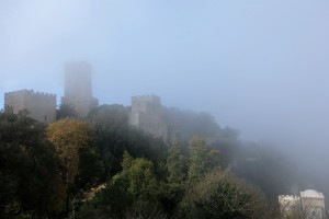 Fog lifting around Erice, Sicily