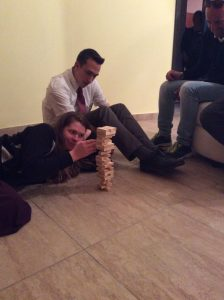 "From Sorella Carver's blog: ""Most intense game of Jenga I've ever played! - Sorella Pinnegar, Anziano Garrett, and Luka."" Cosenza, April, 2016."