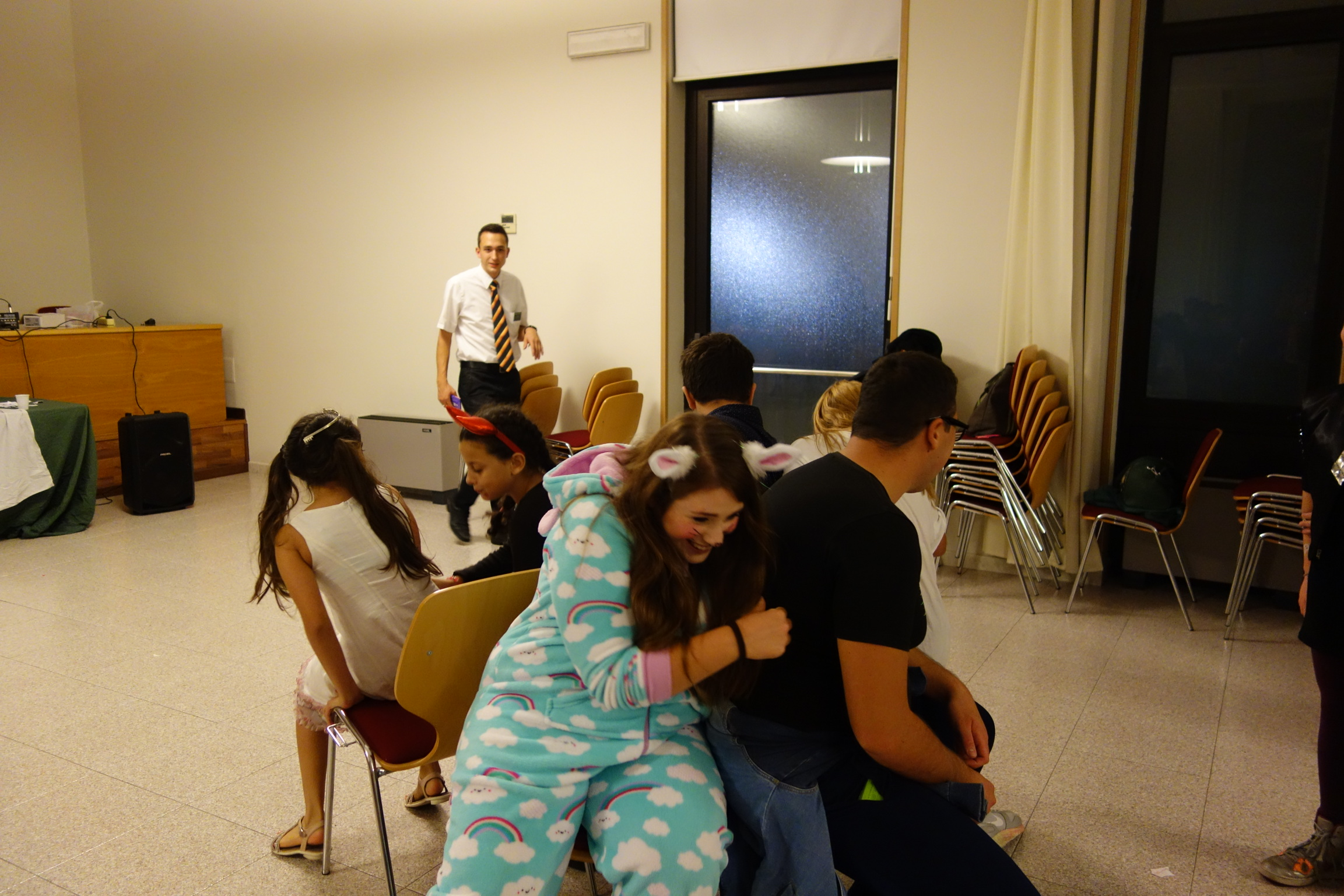 Catania Ward Halloween Party, October, 2016.  Playing musical chairs.